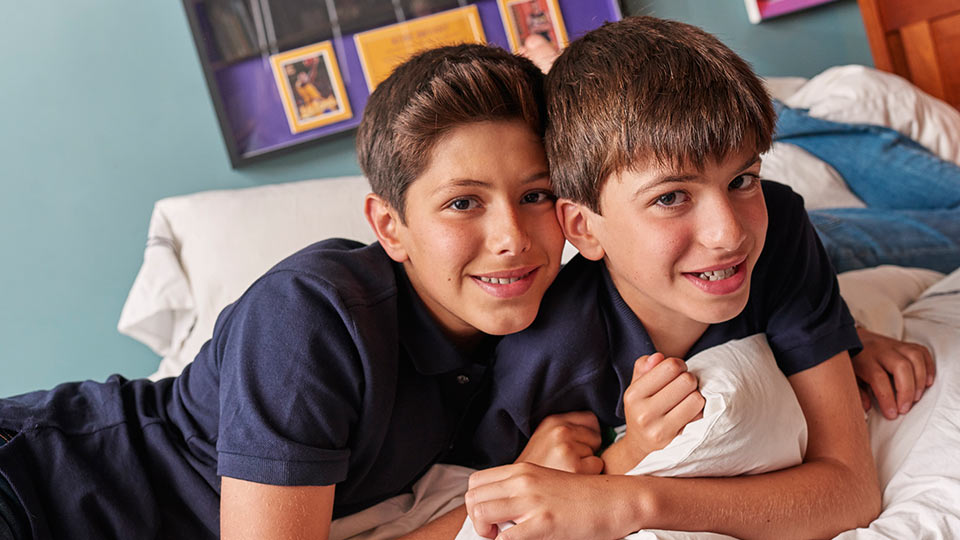 Samson and Jonah Wiener at home. Samson Wiener raised funds for brain tumor research through FACES at NYU Langone.
