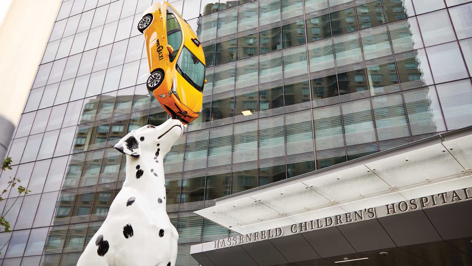 Spot is hardly your typical therapy dog. This Dalmatian pup stands 38 feet tall and balances an actual New York City taxicab on her nose. Spot was commissioned by NYU Langone's Art Program from award-winning artist Donald Lipski.