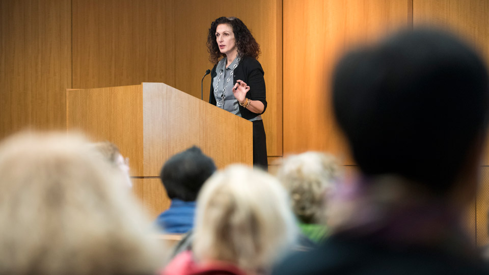Dr. Marleen Meyers at a Public Lecture