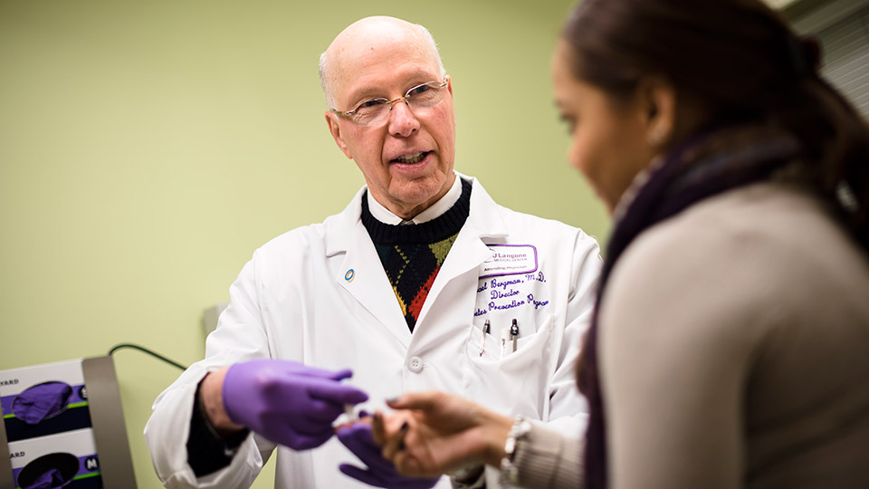 Dr. Michael Bergman Administers Blood Test