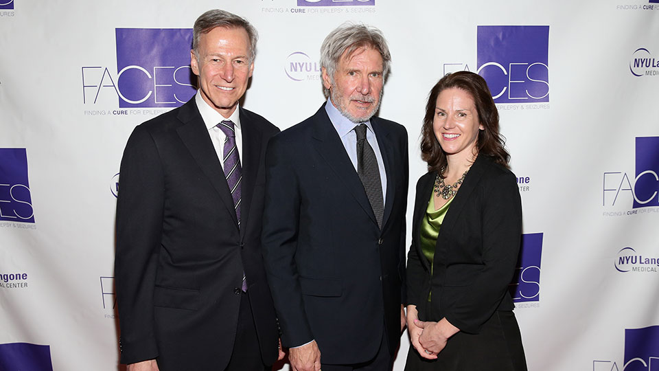 Dr. Orrin Devinsky, Gala Chair Harrison Ford, and 2016 FACES Honoree Laura Crandall