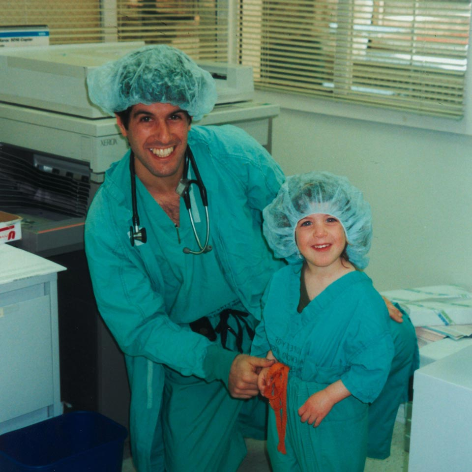 Dr. Seth Perelman, Anesthesiologist, with Allison, 3, at Take Your Daughter to Work Day.