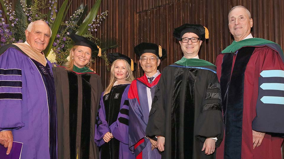 Kenneth Langone and Dr. Robert Grossman with Dean's Honors Day Awardees