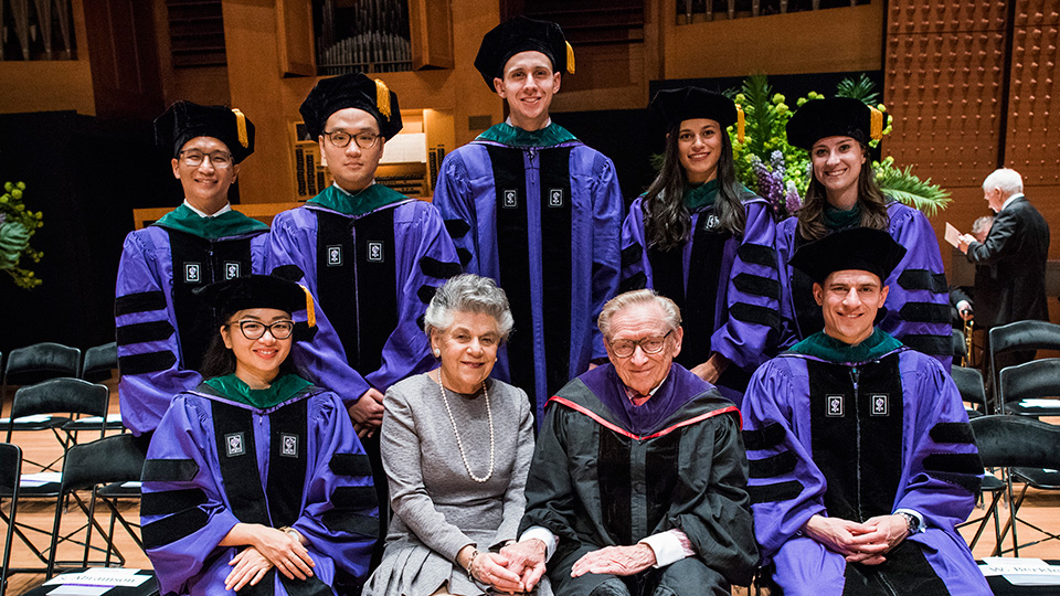 Larry and Klara Silverstein with 2017 Silverstein Scholars at NYU School of Medicine Graduation