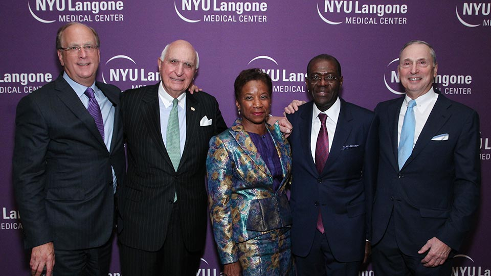 Larry Fink, Ken Langone, Beatrice Welters, Anthony Welters, and Dean and CEO Dr. Robert Grossman