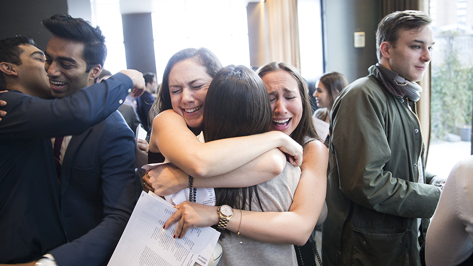 NYU School of Medicine Students Embrace on Match Day 2018