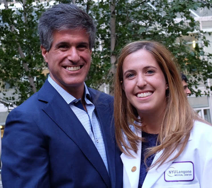 Dr. Seth Perelman, Anesthesiologist, with his daughter, Allison, at the NYU School of Medicine White Coat Ceremony.