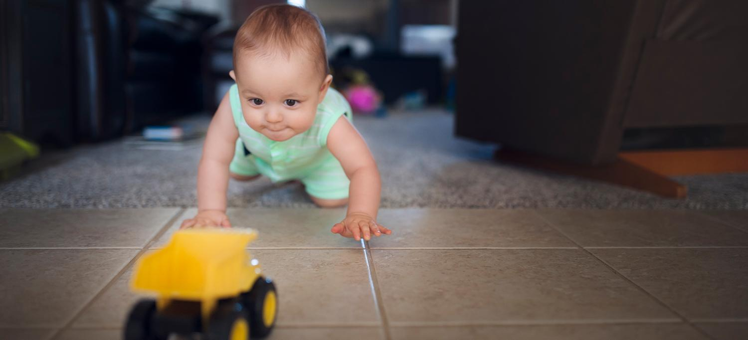 Baby Crawls Toward a Toy