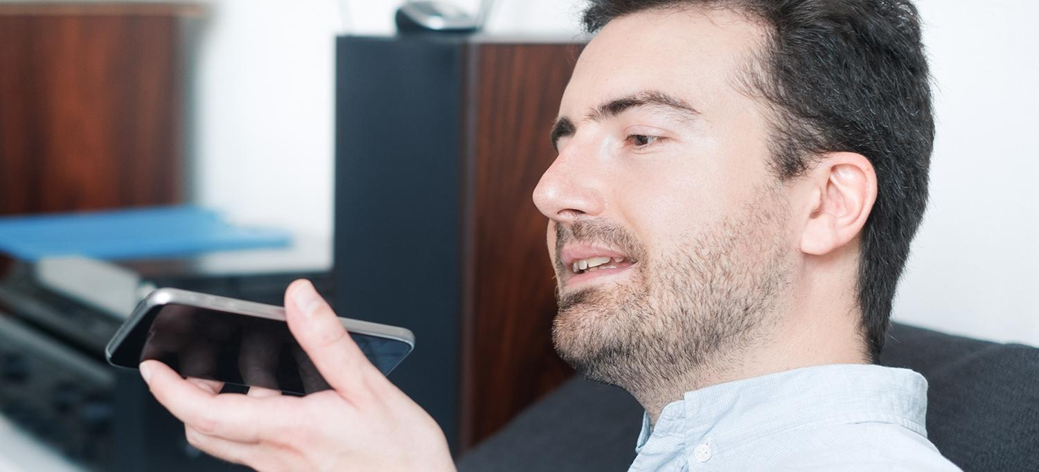 Patient Speaks Into Smartphone
