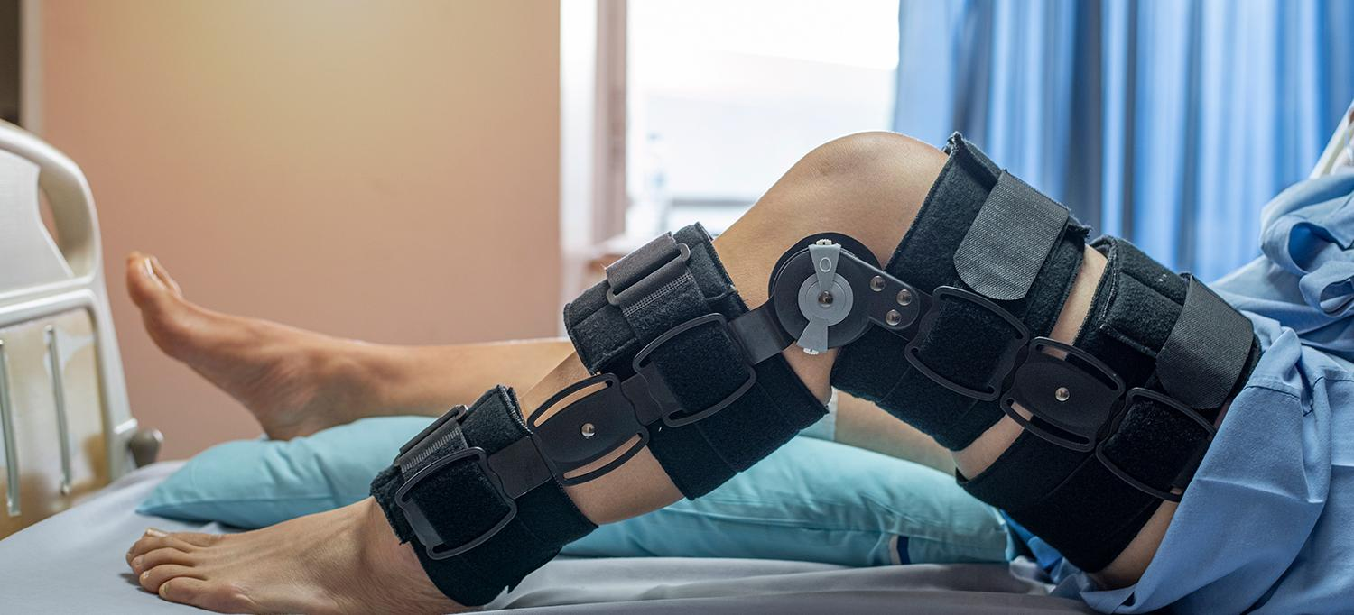 Patient with Hinged Knee Brace