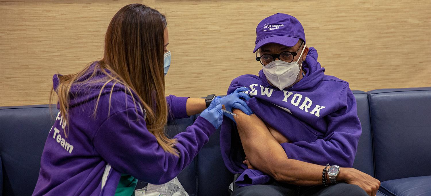Spike Lee Receives Vaccine at NYU Langone