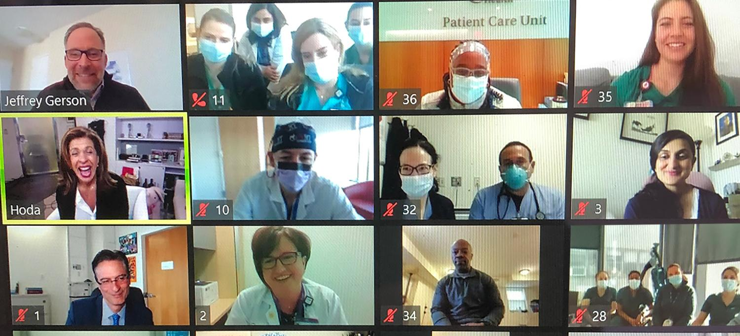 Jeff Gerson, Hoda Kotb, and NYU Langone Staff in Zoom Video Call