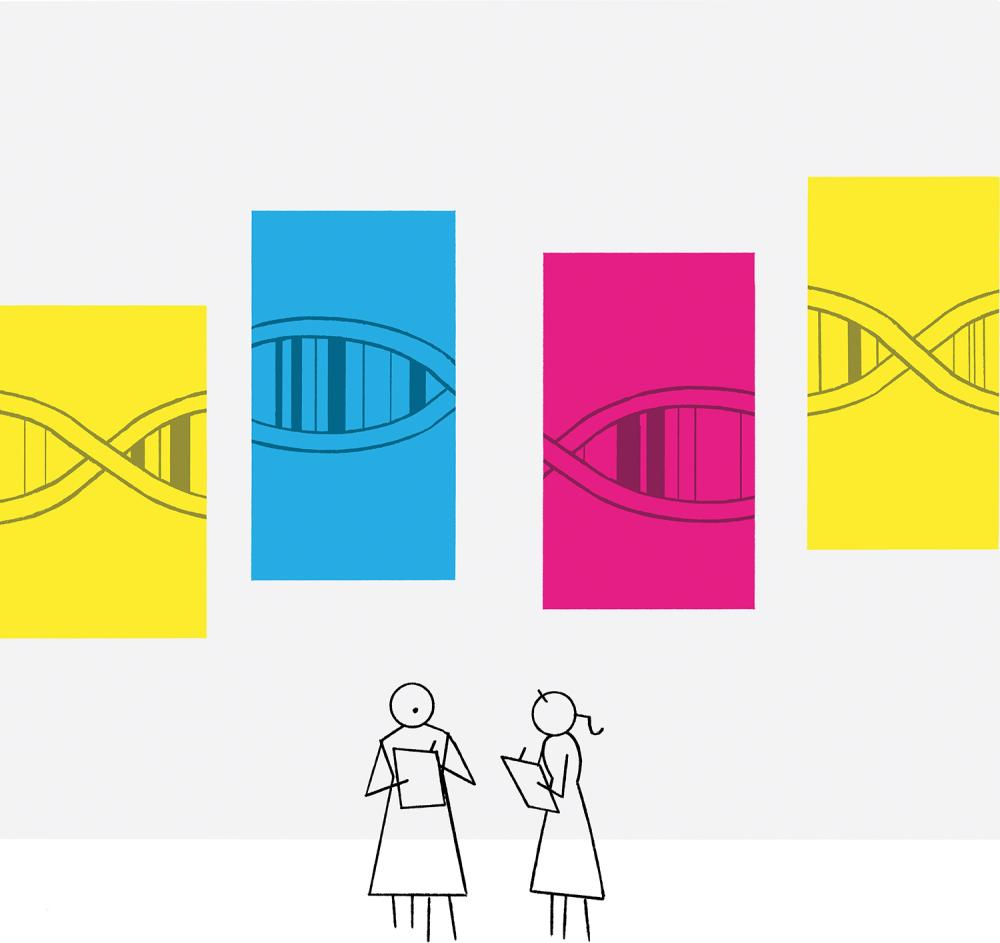Illustration of Stick Figures Analyzing DNA