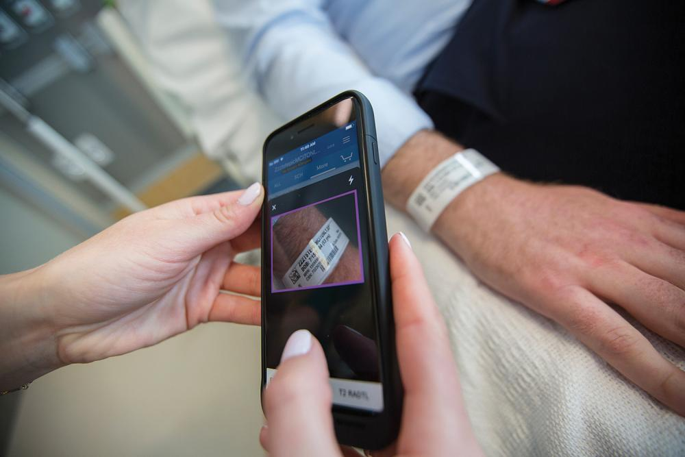 iPhone Scanning Patient Wristband