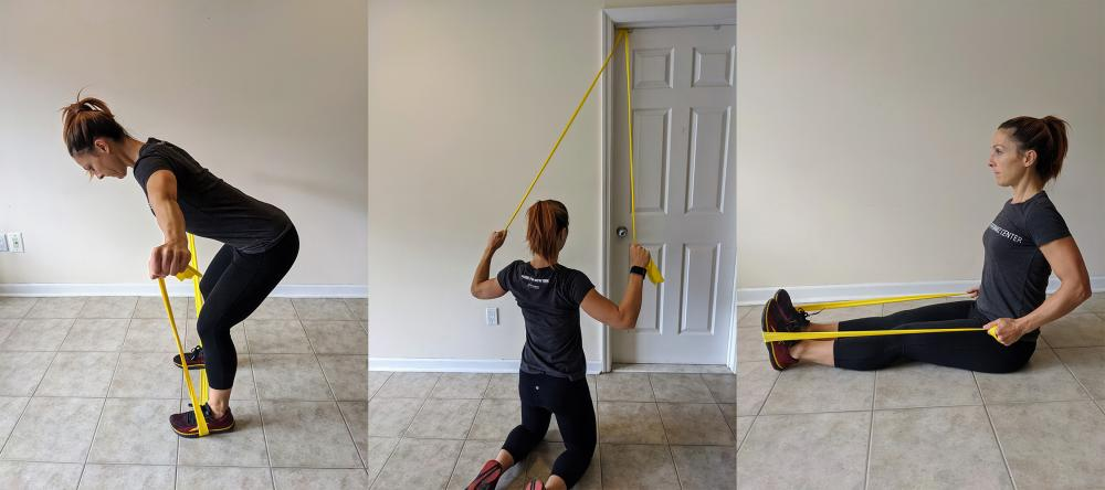 Woman Demonstrates Three Exercises Using Resistance Band